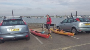 Unloading the kayaks at WMYC